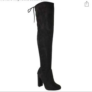 Thigh high over the knee black chunky heel boots